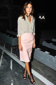 What: Marc by Marc Jacobs Where: Marc by Marc Jacobs Spring 2015 Show Why: The fashionista adds lace-up heels and a choker to balance her 'pretty in pink' leather look.   - HarpersBAZAAR.com