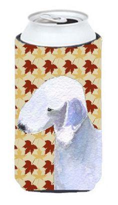 Bedlington Terrier Fall Leaves Portrait Tall Boy Beverage Insulator Beverage Insulator Hugger