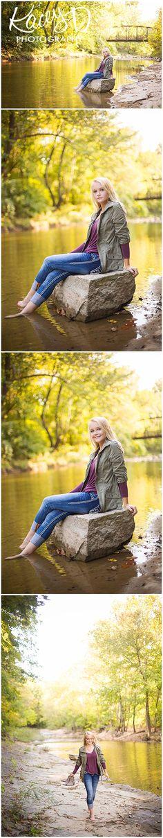 Kacey D Photography - Senior Photographer Columbia, MO - Gorgeous Girl - Senior Pictures - Creek - Bridge - Fall