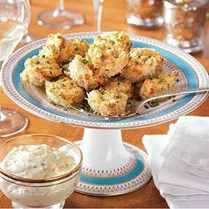 Parmesan-Crusted Crab Cake Bites with Chive Aioli Recipe