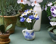 """1/24th Cornflower Paper Flower Kit for 1/2"""" scale Dollhouses, Florists and Miniature Gardens"""