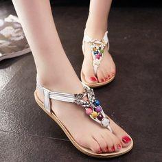 c580bae20 Bohemian Colorful Bead and Flat Heel Design Women s Sandals - WHITE 40