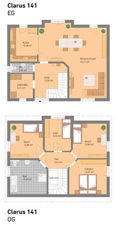 Unser Clarus hat 141 m2 und wird in Massivbauweise hergestellt. Optional ist auch ein Keller möglich.   #massivhaus #eigenheim #hausbau #1,5geschossig #steinmassivhaus #spektralhaus #traumhaus #ingutenwänden