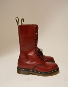 Dr Martens 1460 AIR WAIR 8 Eyelet Patent Leather Lampert Boots (womens). Size UK 7, US 9, EUR 31. Maroon color with bright yellow laces. Brand new, with box. Never worn.