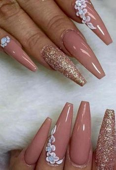 3d Nail Designs, Nail Polish Designs, Acrylic Nail Designs, Nails Design, Art Designs, Glam Nails, Fancy Nails, Pink Nails, Nail Swag
