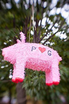 Pig Piñata July Wedding, Camo Wedding, Wedding Blog, Wedding Stuff, Wedding Ideas, Pig Roast Wedding, Pig Roast Party, Bbq Party, Luau Party