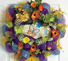Summer Deco Mesh Wreath with Butterfly by PataylaFloralDesigns, $59.00