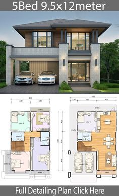 2 Storey House Design, Bungalow House Design, House Front Design, Small House Design, Modern House Design, Contemporary House Plans, Modern Interior Design, 5 Bedroom House Plans, Duplex House Plans
