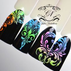 Neon on black is classic Funky Nail Art, Funky Nails, Glam Nails, Cute Nails, Swirl Nail Art, Gel Nail Art, Monogram Nails, Sculpted Gel Nails, Nail Art Techniques