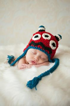 Monster Mash Hat Crochet Pattern, 5 sizs newborn to adult.  via Etsy.