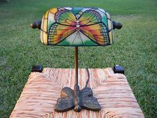 Small Tiffany Style Lamp Butterfly Stained Glass Metal Base Desk Side Table EUC!