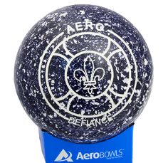 Aero Defiance lawn bowl in Midnight color with Welsh Feathers logo.