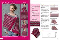 PONCHOS dos agujas - Edición especial 2013 - EviaEdiciones. Crochet Poncho, Crochet Scarves, Crochet Yarn, Crochet Clothes, Crochet Top, Knitting Designs, Knitting Patterns Free, Sewing Patterns, Crochet Patterns