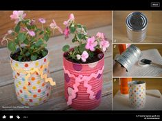Cans with flowers