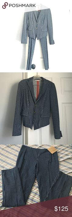 Gorgeous Rachel Roy casual Pant suit! Amazing pin stripe navy and white pant suit from Rachel Roy!  Never worn!  Jacket never had tags pants still do.  Literally can be worn with a white tee and keds or stilettos to the office or town!  Perfect condition.  Size 2 on both pants and jacket.  Retails over $225 for set.  ❌no trades❌ RACHEL Rachel Roy Other