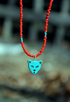Turquoise Cheetah Necklace by HoleInHerStocking on Etsy, $14.00
