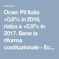 Ocse: Pil Italia +0,8% in 2016, rialza a +0,9% in 2017. Bene la riforma costituzionale - Economia - ANSA.it