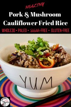 Skip the takeout and try this pork and mushroom cauliflower fried rice. It's Paleo and compliant, but mostly it's just delicious! Side Dish Recipes, Pork Recipes, Paleo Recipes, Easy Recipes, Dairy Free Recipes, Gluten Free, Cauliflower Fried Rice, Cauliflower Recipes, Spicy Sauce