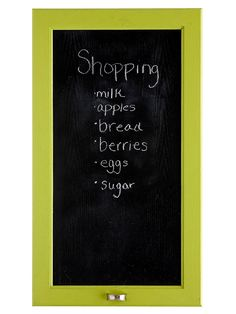 Remember your shopping list by writing it right on the cupboard. Chalkboard paint and painter's tape make the process simple.