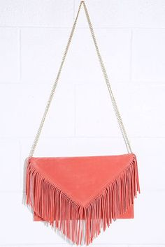 Hot Second Coral Pink Suede Fringe Clutch at Lulus.com!