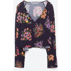 FLOWING PRINTED TOP - NEW IN-TRF | ZARA United States (65 CAD) ❤ liked on Polyvore featuring tops, purple pants, loose fit trousers, loose fit pants, loose fitting pants and cut loose pants