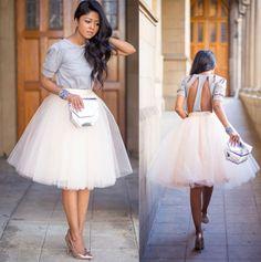 White-Tulle-Chiffon-Pleated-Circle-A-Line-Flare-Full-Knee-Length-Midi-Skirt-NWT