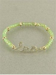 """Amazon.com: Designer Inspired Gold and Mint Green Beaded Stretch Bracelet with Gold """"Love"""" Crystal/bling Charm.: Jewelry"""