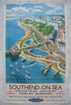 Southend-on-Sea, Westcliff-on-Sea, Leigh-on-Sea, Thorpe Bay, Shoeburyness - High Sunshine - Low Rainfall, by Frederick Griffin. A lovely summer's day looking down over Southend seafront, beaches, boating lake and the pier entrance, with the cliff gardens above. The beaches are very busy and the jetties are in use with boats. Original Vintage Railway Poster available on originalrailwayposters.co.uk