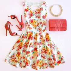 Flirty Floral + Coral Accessories Outfit! The Fashion: Gorgeous dress black fur Summer outfits Teen fashion Cute Dress! Clothes Casual Outift for • teenes • movies • girls • women •. summer • fall • spring • winter • outfit ideas • dates • school • parties mint cute sexy ethnic skirt