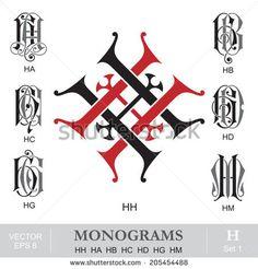 ***** H H ***** Vintage Monograms HH HA HB HC HD HG HM Monogram Logo, Vintage Monogram, Tattoo Flash Sheet, Writing Fonts, Engraving Art, String Art Patterns, Drawing Letters, Creative Typography, Logo Design Inspiration