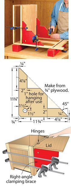 Right Angle Braces - Wood Mag Tip of the Day For each pair, start with a 12″ square of 3⁄4″ Baltic-birch plywood and cut it in half diagonally. Then cut notches for the clamps, above. You can vary sizes to suit larger or smaller projects. The braces help with more than glue-ups. Clamp a pair to a chest, above, to support the lid as you install hinges.: