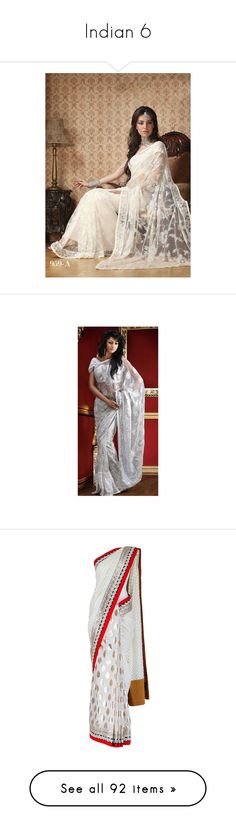 """""""Indian 6"""" by enchantedrose33 ❤ liked on Polyvore featuring dresses, indian, sari, india, people, dolls, tubes, tops, blouses and saris"""