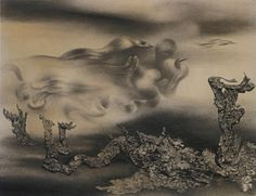 Baumlandschaft, 1935 by Richard Oelze. Surrealism Painting, Art Database, Fantastic Art, Drawing Reference, Installation Art, Cool Art, Weird, Abstract, Drawings