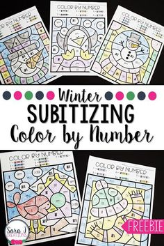 Winter Subitizing Color by Number Winter subitizing color by number sheets are the perfect activity for kindergarten students to practice and build number sense skills. Number Sense Kindergarten, Number Sense Activities, Kindergarten Colors, Kindergarten Activities, Winter Activities, Math Games, Thanksgiving Activities, Subitizing Activities, Preschool Math