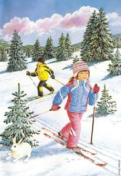 Kids having fun skiing pieces) Snow Scenes, Winter Scenes, Winter Pictures, Christmas Pictures, Christmas Illustration, Illustration Art, Winter Painting, Animation, Christmas Scenes