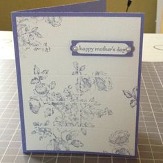 Card Stock: Wisteria Wonder, Very Vanilla / Ink: Wisteria Wonder / Cool Tools: Modern Label Punch, Word Window Punch / Stamp: Elements of Style, Teeny Tiny Wishes / Embellishments: Pearls    NOTE: Faux Tile effect was created using scoring blade in regular paper cutter