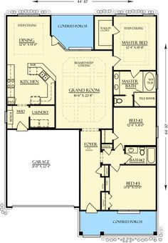 Bungalow Country Craftsman House Plan 74760 I only want one level and 2 bedrooms, condense the size, perhaps no garage and this floor plan works. Small Bungalow, Bungalow House Plans, Craftsman Style House Plans, House Floor Plans, Bungalow Ideas, Craftsman Homes, House Layout Plans, Family House Plans, House Layouts