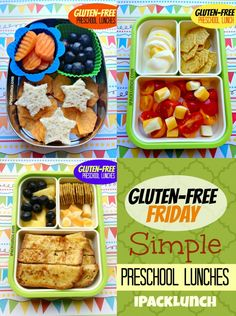 Gluten-Free healthy lunch ideas for preschoolers and toddlers. A lot of great ideas of meals to feed kiddos. Healthy Toddler Lunches, Toddler Meals, Kids Meals, Healthy Snacks, Healthy Recipes, Toddler Food, Toddler Recipes, Sin Gluten, Lunch Snacks