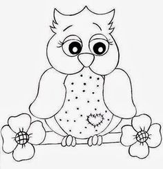 Love this adorable owl, lots of ideas. Owl Templates, Applique Templates, Applique Patterns, Quilt Patterns, Colouring Pages, Coloring Books, Owl Crafts, Owl Patterns, Owl Art