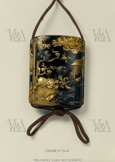 Inro with a design of animals of the zodiac. Black lacquer. Japan, 19th century.