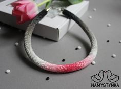 Pink gradient necklace Crochet beaded necklace Rose Gray #pinkbeadednecklace