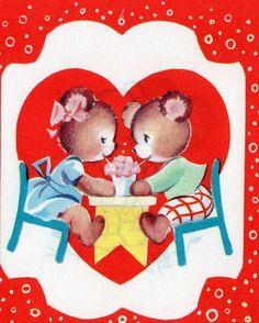 Vintage VALENTINE Greeting Card CUTE ANTHROPOMORPHIC BEARS Share Ice Cream Soda