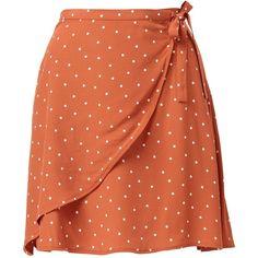 SPOT WRAP MINI SKIRT (2,780 PHP) ❤ liked on Polyvore featuring skirts, mini skirts, short skirts, short wrap skirt, red polka dot mini skirt, flippy skirt and wraparound skirt