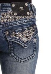 Miss Me Jeans Fleur De Lis Yolk Bootcut