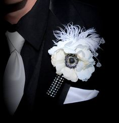Corsage & Boutonniere Flower Holder w/ Bling!  by WhiteCurtinDesign on Etsy