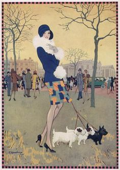 Illustration of a lady walking her dog in the park on an autumn's day. From The Bystander 14th November 1928 by artist Elsie Harding.