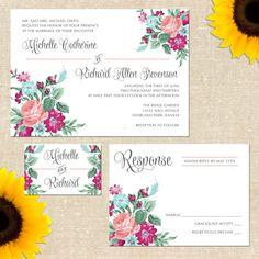 MEMORIAL WEEKEND Vintage Floral Wedding Invitation