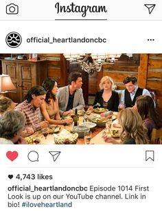 Heartland season 10, episode 14 - 10x14 - 1014 - Amy, Georgie, Mallory, Jake, Mitch, Lou, Scott, Jack  Wow, crowded dinner table. This should be a fun episode