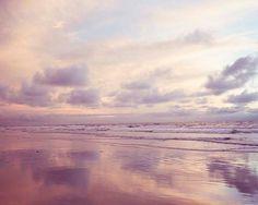 Beach Photography, Pastel Dreamy Seascape, Pink Clouds Reflecting, Beach Decor, Sunset Photograph, Purple Grey Peach Wall Art