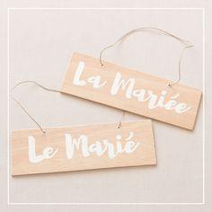 Pancartes de mariage La Mariée Le Marié • Lot de 2